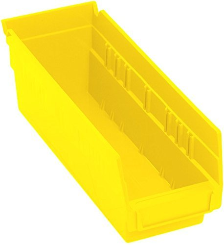 Quantum Storage K-QSB101YL-10 10-Pack Hanging Plastic Shelf Bin Storage Containers 11-58 x 4-18 x 4 Yellow