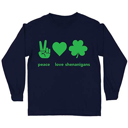 lepni.me Camiseta para Nios Paz y Amor Shenanigans Regalo para la Fiesta del Da de San Patricio en Irlanda (7-8 Years Azul Multicolor)
