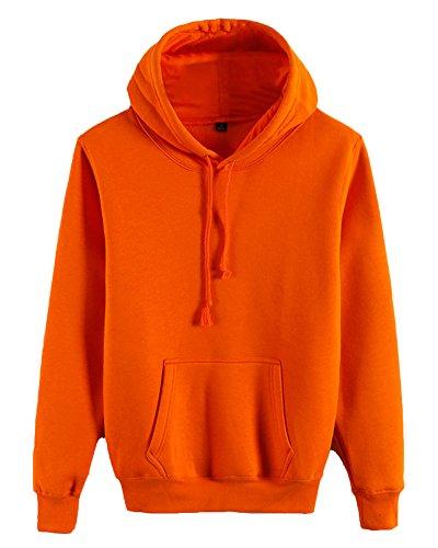 Sweat à Capuche Casual Lâche T-Shirts à Manches Longues - Couleur Unie - Unisexe Orange 3XL