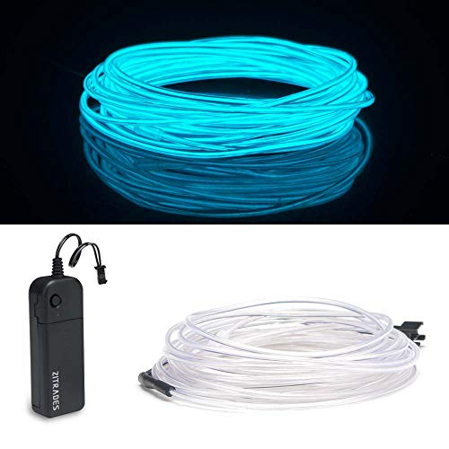 ZITRADES EL Wire, Portable Neon Lights EL Wire 15ft Ice Blue, Neon EL Wire for Parties, Blacklight Run, DIY Decoration