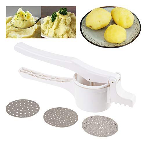Surplex Kartoffelpresse aus Kunststoff, Spätzlepresse Kartoffelstampfer Set für Kartoffelpüree, Obstsäfte, Gemüsebrei, mit 3 Lochscheiben (Fein/Mittel/Grob), Spülmaschinenfest, Länge: 36 cm