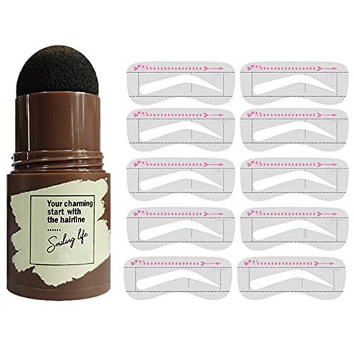 Sello de la Frente de un Paso, Sello Impermeable Sello de la ceja Powder Stencil Kit de la ceja de Ojos Formar Herramientas de Maquillaje para el Aseo y los Cejas de Dibujo (Negro)