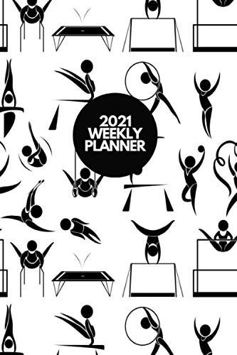 2021 WEEKLY PLANNER: Black & White Gymnastics Pattern Cover Design for Gymnasts