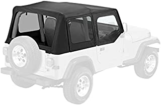 Pavement Ends by Bestop 51130-15 Black Denim Replay Replacement Soft Top Clear Windows w/Upper Door Skins for 1988-1995 Jeep Wrangler