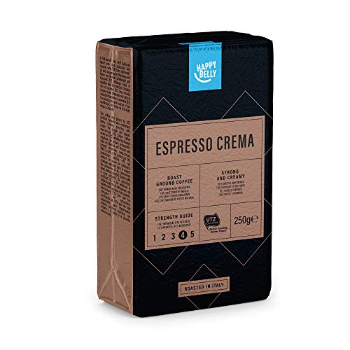 Marca Amazon - Happy Belly Café molido Espresso Crema (4 x 250g)