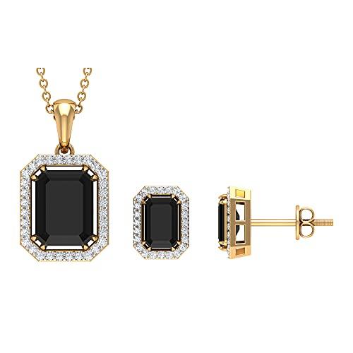 Juego de joyas vintage de 3,75 quilates con espinela negra de talla octágono y halo de diamantes (calidad AAA), 14K Oro amarillo, espinela negra
