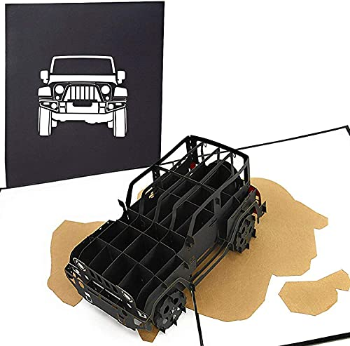 PopLife Jeep Truck 3D Pop Up Card for All Occasions - Birthday, Father's Day Gift, Graduation, Congratulations, Retirement, Anniversary - SUV Driver, Off-Roading, 4X4 Car - for Husband, Son, Boyfriend