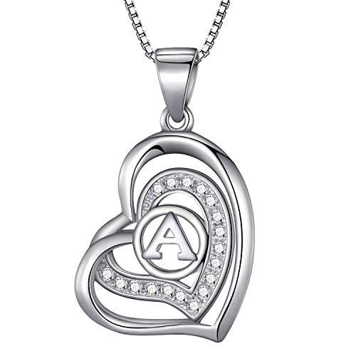 Morella Collana donna a forma di cuore lettera A con zirconi bianchi 46 cm argento 925 rodiato
