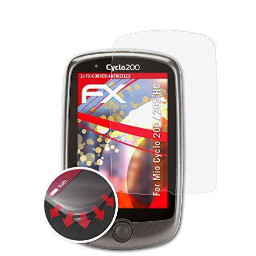 atFoliX Schutzfolie kompatibel mit Mio Cyclo 200/205 HC Folie, entspiegelnde und Flexible FX Displayschutzfolie (3X)