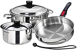 Magma Products, A10-362-IND 7 Piece Induction Cook-Top Gourmet Nesting Stainless Steel Cookware Set , Black