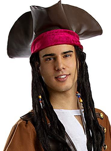 Funidelia | Sombrero de Pirata marrón para Hombre y Mujer ▶ Corsario, Bucanero - Color: Marrón, Accesorio para Disfraz - Divertidos Disfraces y complementos