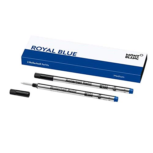 Montblanc Tintenroller Minen Royal Blue 124504 – Blaue Ersatzmine für Montblanc Roller Ball und Fineliner Größe M – 2 x Montblanc Refill Rollerball M