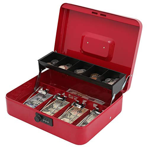 "Xydled Cash Box with Money Tray and Combination Lock,Tiered,4 Bill / 5 Coin Slots,11.8"" x 9.5"" x 3.5"""