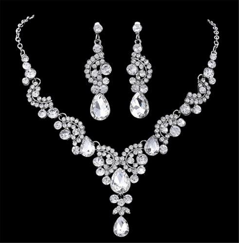 WOFEI Pendientes Y Collar De Diamantes De Imitación Nupcial Accesorios para El Cabello De Vestido De Novia De Alta Gama Accesorios para Fiestas De Cumpleaños,Plata