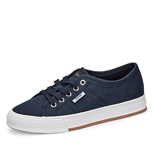 Esprit 030EK1W335 Simona Lace Up Damen Sneaker aus Textil 25-mm-Plateausohle, Groesse 37, blau