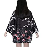 LAI MENG FIVE CATS Women's 3/4 Sleeve Loose fit Japanese Shawl Kimono Cover up OneSize US S-XL