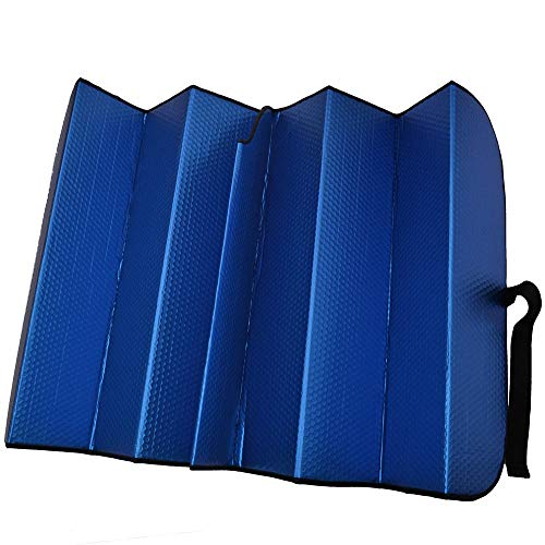 Motor Trend Front Windshield Sun Shade - Jumbo Accordion Folding Auto Sunshade for Car Truck SUV - Blocks UV Rays Sun Visor Protector - Keeps Your Vehicle Cool - 66 x 27 Inch (Blue)