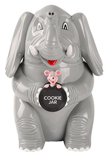 Dresz Kunststoff Keksdose/Bonbondose, Trompetender Elefant, Grau, aus Strapazierfähigem Hochglanz Kunststoff Hergestellt, Batterien Inbegriffen, 21 x 15 x 25 cm