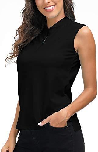 AjezMax Damen Tennis Golf Polo Shirt Ärmellos Atmungsaktiv Fitness Sport Tank Top mit 1/4 Reißverschluss Schwarz L