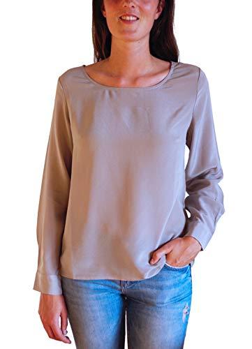 Posh Gear Damen Seidenbluse Rotondoseta Bluse aus 100% Seide, grau, Größe S