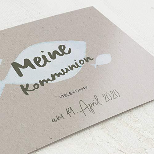 sendmoments Danksagung Kommunion, Dankeskarte, Geborgen, 5er Klappkarten-Set C6, personalisiert mit Wunschtext & persönlichen Bildern, optional mit passenden Design-Umschlägen