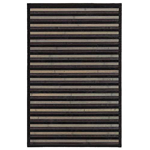 Alfombra de Salón o Comedor, de Rayas Neutras, de Bambú Natural 60 X 90cm, Natur 60x90 - Hogar y Más