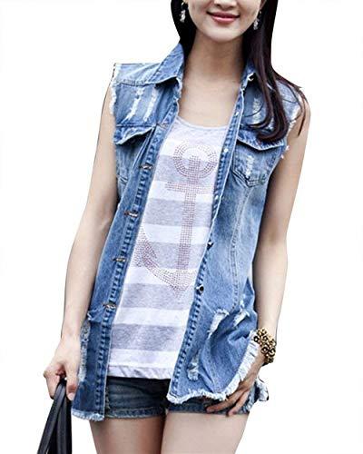 Gilet Jeans Donna Strappato Cavo Smanicato Bavero Jeans Jacket Elegante Vintage Fashion Tempo Libero Prodotto Plus Classiche Denim Outwear Cappotto Primaverile Autunno Donne