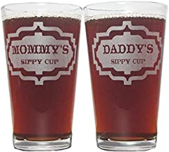 Mommy's and Daddy's Sippy Cups 16oz. Laser Engraved Pint Glasses/Beer Glasses Gift Set