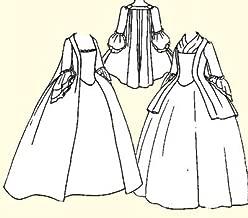 1750's - 1770's Pet-en-l'air or Robe à la Française Pattern (XL-Bust Size 44-46