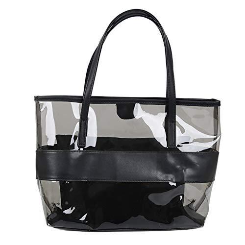 Lazzboy Frauen Transparent Wild Cute Messenger Schultertasche Handtasche Damenhandtaschen Koreanische Version All-matched Farbe Gelee Paket Transparente Tasche Umhängetasche(Schwarz)