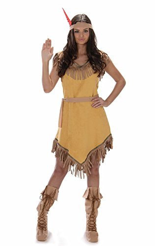 Karnival- Indian Girl Costume Disfraz, Color marrón, extra-large (81048) , color/modelo surtido