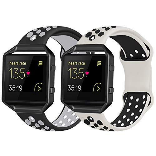 2 Pack Bands Compatible with Fitbit Blaze with Black Frame for Men Women, Soft Silicone Breathable Replacement Sport Accessory Strap Wristband for Blaze Fitness Watch (White Black/Black Grey Large)
