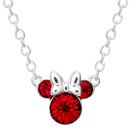 Disney Minnie Mouse Silver Plated Crystal Birthstone Necklace 16