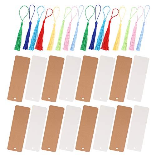 EXCEART 50 Set Kit Segnalibro Fai da Te Segnalibri in Cartoncino di Carta Segnalibri in Carta Bianca con Nappe Colorate per Progetti Artistici Fai-Da-Te Materiale Scolastico Artigianato