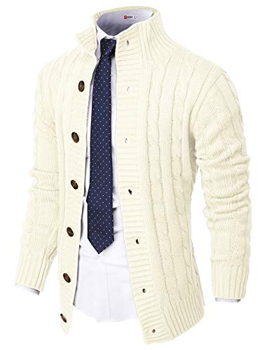 H2H Mens Casual Slim Fit Cardigan Sweater Cable Knitted Button Down Stand Collar Ivory US L/Asia XL (CMOCAL035)