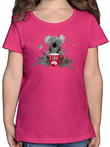 Städte & Länder Kind - I Love Australien Koala - 164 (14/15 Jahre) - Fuchsia - Koala Shirt Kinder 140 - F131K - Mädchen Kinder T-Shirt