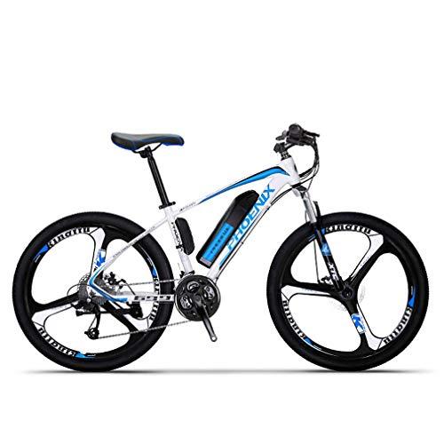 Adulti elettrica Mountain Bike, Biciclette da Neve 250W, Rimovibile 36V 10Ah Batteria al Litio per 27 velocità Bicicletta elettrica, 26 Pollici in Lega di magnesio Integrata Ruote,Blu