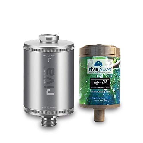 rivaALVA Trinkwasser-Filter LIFE-EM Filterset, plastikfreie Filterkartusche mit Blockaktivkohle + EM Keramik, Bio-Filter reduziert Schadstoffe wie Chlor, Mikroplastik, Arzneimittel