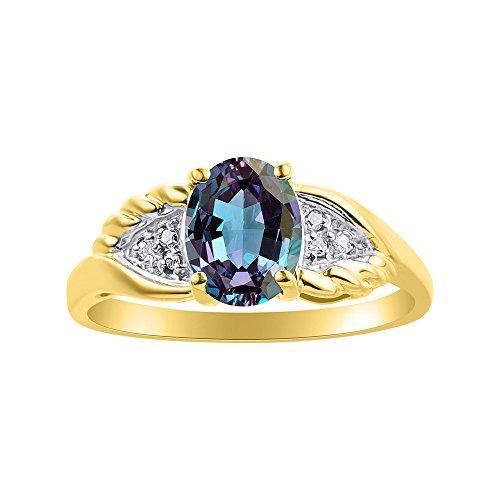 Diamond & Simulated Alexandrite - Juego de anillos chapados en oro amarillo y plata con diseño de alas de diamante