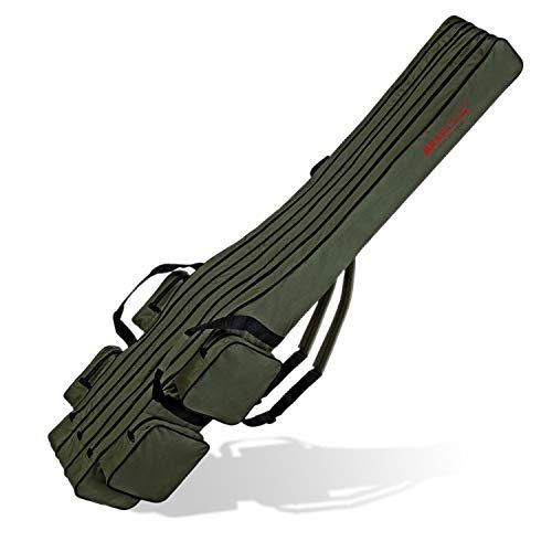 Angel Tasche Futteral Rutentasche Fishing Rucksack - Oliv 3 Innenfächer - 160 cm