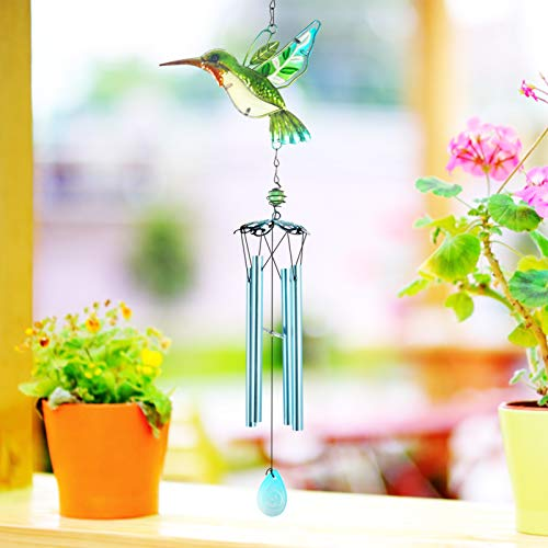 Greenke Glass Hummingbird Wind Chimes Outdoor, Waterproof Windchimes for Garden Patio Porch Yard Lawn Decoratio, Mother's Day Birthday Gifts for Mom Grandma Wife Daughter Friends