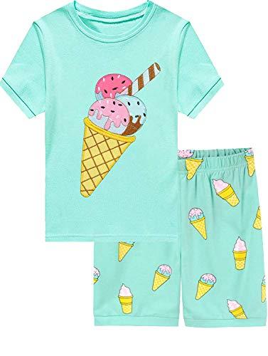 EULLA Pijama corto para niña, diseño de dinosaurio, princesa, unicornio, pijama de verano de dos piezas, 92, 98, 104, 110, 116, 122 3# Ice Cream 24 meses