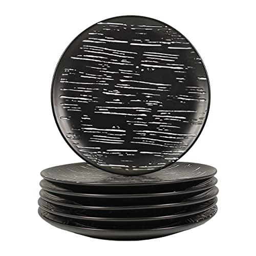 JINSONGDAFA Juego de 6 platos creativos de porcelana de 17,7 cm, diseño de rayas múltiples en blanco y negro, plato de postre para ensalada de pasta, apto para microondas y lavavajillas (7 pulgadas)