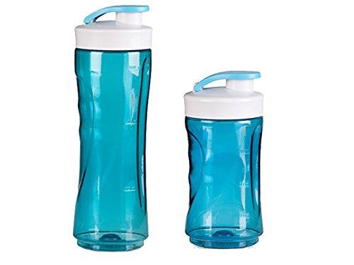Domo DO481BL-BG-BK, set van 2 reserveflessen voor smoothie-maker, 300 en 600 ml, blauw.