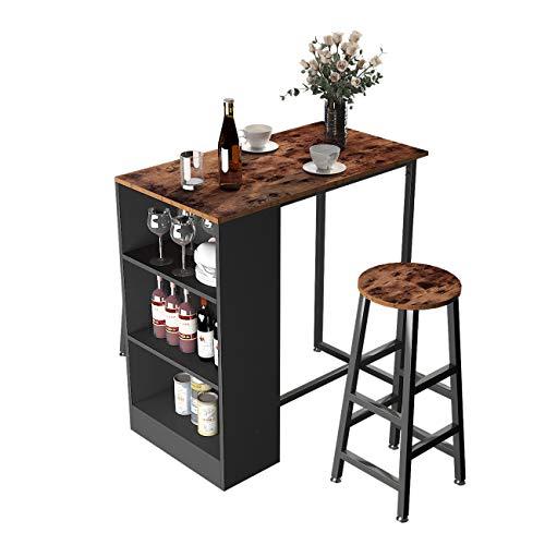 DlandHome Juego de mesa de comedor de 3 piezas con 2 taburetes de 35.8 pulgadas, mesa de bar con estante, escritorio de computadora, encimera de madera, mesa alta para ordenador para comedor, Z813FG