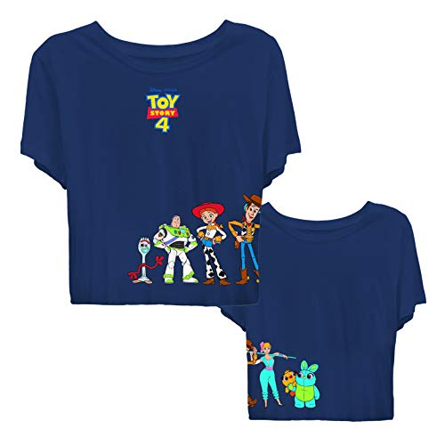 Ladies Toy Story Fashion Shirt - Ladies Classic Toy Story Tee - Buzz Lightyear and Woody Crop Top Tee (Navy, Small)