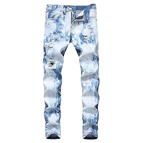 NP Jeans para Hombre Tinta salpicada Auxiliar Jeans de Hombre