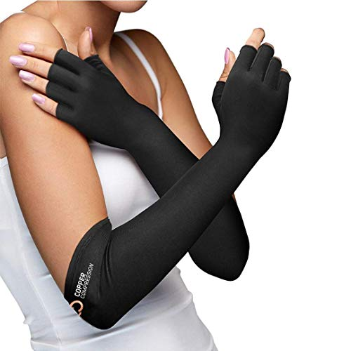 Copper Compression Long Arthritis Gloves for Carpal Tunnel, Computer, Typing