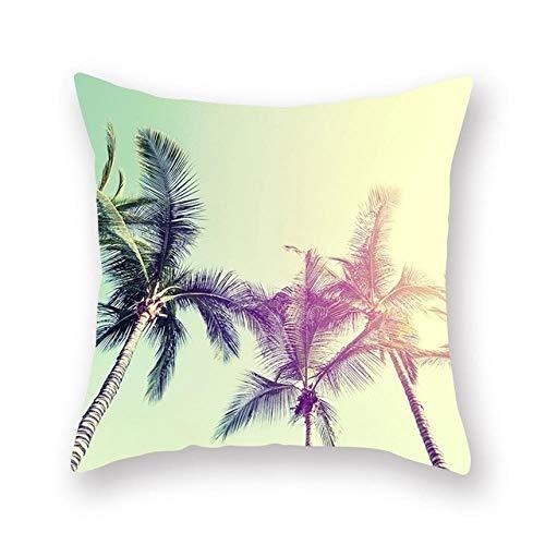 XCLWL Kussensloop zomer oceaan landschap patroon kokosboom decoratief kussen sofa huis decoratie 3 stuks