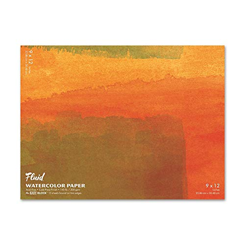 Fluid Watercolor Paper 880912 140LB Cold Press 9 x 12 Block, 15 Sheets